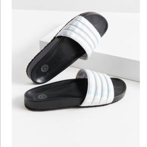 NWT Urban Outfitters Silver / Iridescent Slides